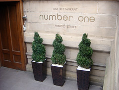 Entrance to Number One restaurant at Edinburgh...