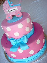 Jen's Baby Shower (alana_hodgson) Tags: pink baby cake shower stroller polka bow dots pram buggie sweettreats