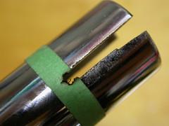 An angle grinder makes a rough cut in short order... (JD and Beastlet) Tags: roof up tongue jack power pop trailer drill bal crank dewalt stabilizer leveler 18v xrp dc925ka