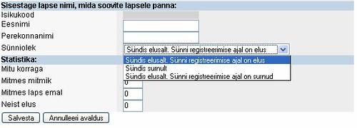 Sünni registreerimise vorm