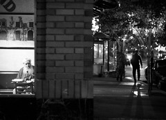 The Ascent of Stanley (Karen.Strolia) Tags: blackandwhite night lights downtown shadows 10 bricks homeless silhouettes sanrafael 4thstreet fav10 royalgrounds placesswapped