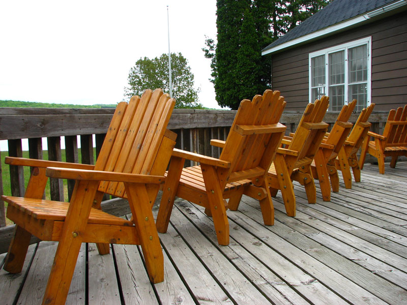 Chairs outside the camp dining hall