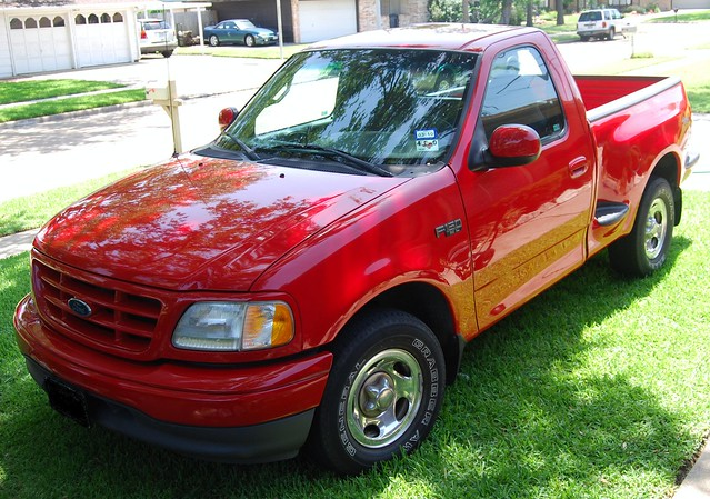 2002 red ford truck pickup f150 stepside flareside