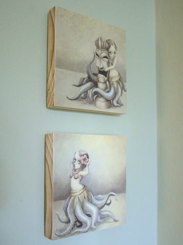 huladollsquidgirls Wood-mounted Prints