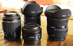 My Kit (lowbattery) Tags: canon lens sigma canon50mmf18 1020mm tamron lenses niftyfifty tamron55200 1770mmsigma