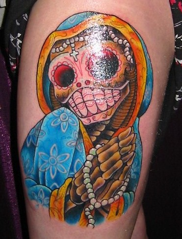 Left Thigh Tattoo - Day of Dead