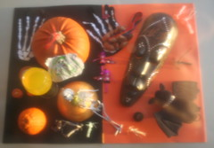 Hazy Halloween! (Caro's Lines) Tags: orange black halloween pumpkin skeleton photo haze mask bat shrimp dome orangejuice rhinestones barrette allinone bottletops skeletongloves hairslide skeletonhands twtmesh370708