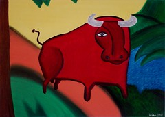 KALWA - Bulle in rot - Oil on Canvas - 2005