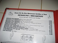 The menu for the best Mexican breakfast in town. (11/24/2007)