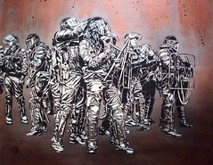C215 - Riot scene (C215) Tags: streetart paris france art illustration french graffiti riot stencil police christian pochoir gendarmerie masacara szablon emeute c215 schablon gumy piantillas guemy
