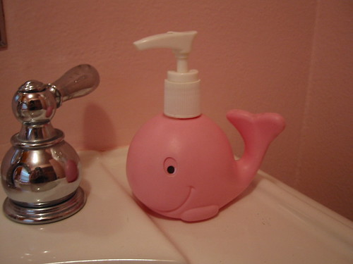 Whale in the pink princess bathroom