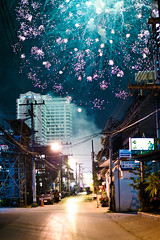 Fireworks in Chiang Mai (pritzkerphoto.com) Tags: street colors night 35mm thailand lights colorful pentax fireworks newyear celebration thai chiangmai f2 top10 k100d