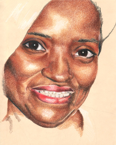 In progress scan of a colored pencil portrait