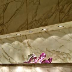 (michale) Tags: lighting pink italy fashion shop shopping shoe lights florence store shoes italia spotlight minimal strap firenze vein shopwindow marble storewindow sandal strappy
