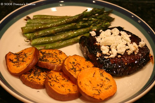 Balsamic Steak with Feta and Thyme Sweet Potato Medallions