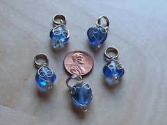blue beaded wire stitch markers