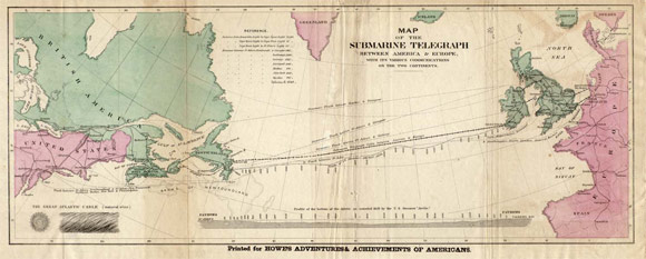 Map of 19th century Atlantic cables