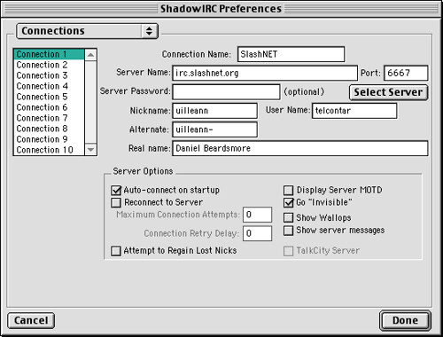 shadowirc prefs-connection