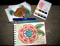 "Night painting and necessary supplies (Stephanie ""Biffybeans"" Smith) Tags: red black flower color eye art water fountain pen ink watercolor painting book paint box mani mandala bijoux bijou padme om sponge healing cachet newton hum mantra lamy winsor meditative noodlers redblack niji waterbrush biffybeans"