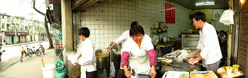 Corner food shop in Shanghai, China