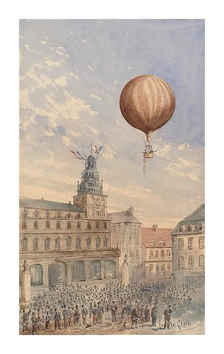 04-Globo con dos pasajeros ascendiendo en las afueras de una ciudad-banderas francesas ondeando y multitud de especadores-1880-1900