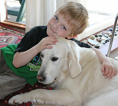 Tobias and Ditte (Ingrid0804) Tags: kids goldenretriever bestfriends