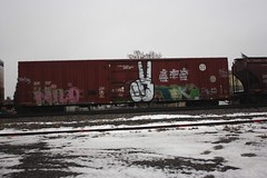 12-21-13 (772) (This Guy...) Tags: graf graff graffiti train car traincar box boxcar freight freightcar rail road railroad rr 2013 boob boobs booby boobys boobie boobies tit titts tits titty tittie titties nude naked booty vr land landscape leaked selfie cool hand twenty eight twentyeight 28 you cant win peace sign deuce deuces