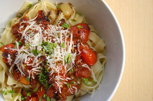 Roasted tomato sauce on fresh fettucine II