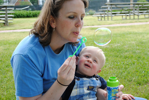 Blowing bubbles with Auntie G