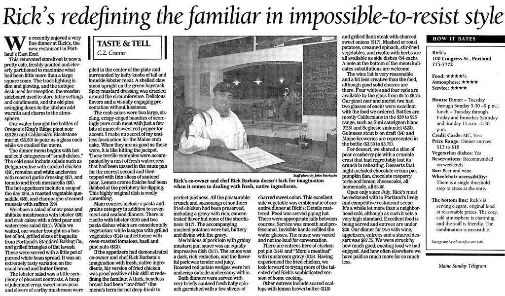 Rick's Review in Maine Sunday Telegram
