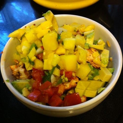Naked Burrito Bowl with Pineapple Mango Salsa