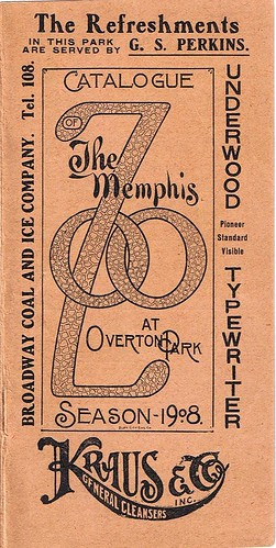 Catalogue of the Memphis Zoo at Overton Park, Season - 1908