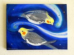 Dreaming (YokosGallery) Tags: blue portrait pets abstract art birds glitter silver stars acrylic canvas cockatiel etsy sequins universe darkblue midnightblue yokosgallery paintingoriginalpainting