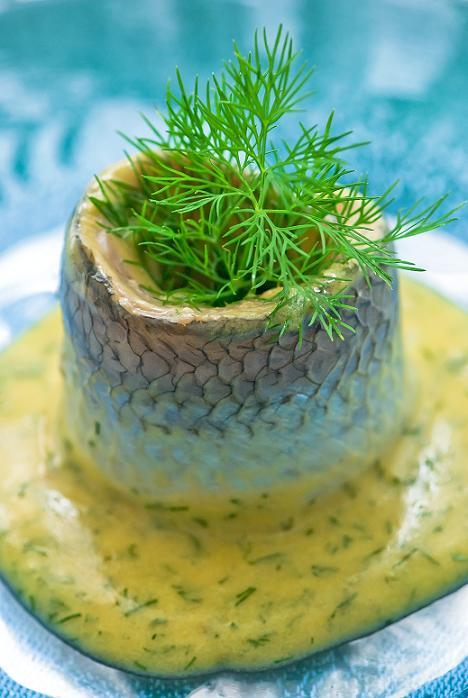 herring, home made mustard and dill sause