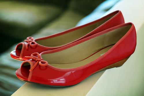 orange peep toes