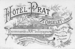 carte de l'hôtel Prat - Orgelet (Jura)