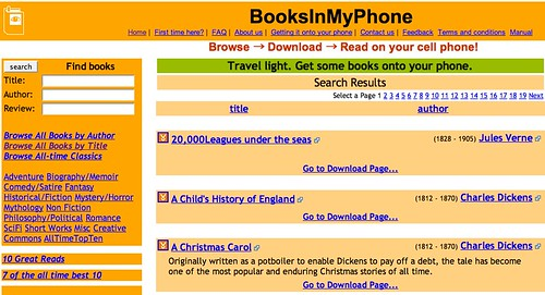 BooksInMyPhone - read books on your cell / mobile phone, carry a library in your pocket!