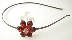 Black, White and Red Vintage Flowers Headband