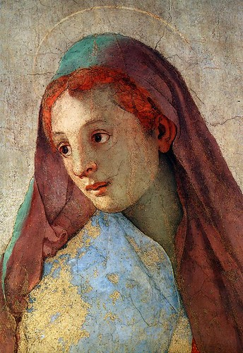 PONTORMO, Jacopo  little is aAnnunciation of the Virgin Mary (Detail) 1527-28