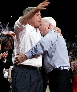 McCain hugging Bush