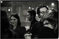 jenny and lorne and fred and shel (gorbot.) Tags: blackandwhite kissing edinburgh rangefinder newyearseve hogmanay leicam6 thebells kodaktmax3200 mhexanon mmount epsonv700 konicahexanon50mmf2 ilfordilfotechc131 jennyandlorne