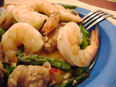 turkey sausage, shrimp, asparagus