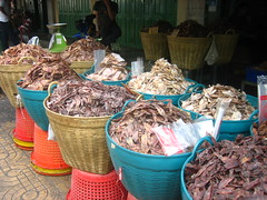 Baskets of dried fish