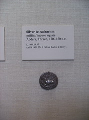 Silver Tetradrachm: Griffin (peterjr1961) Tags: nyc newyorkcity newyork art museum silver greek coin coins met griffin themet metropolitanmuseumofart tetradrachm