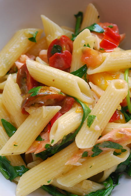 Penne with smoked trout and tomatoes