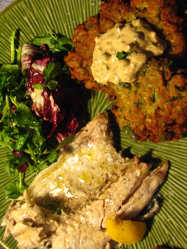 Red Snapper Baked in Salt Crust with Okra Fritter