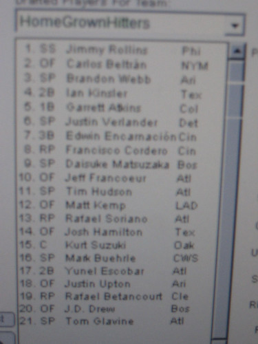 fantasy baseball draft 1
