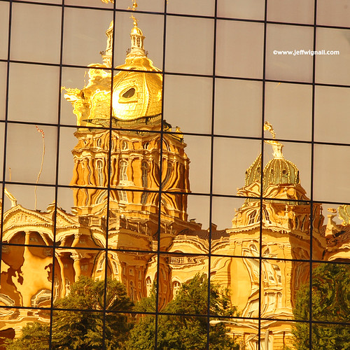 Iowa State Capitol Reflected in Nearby Office Building by Jeff Wignall
