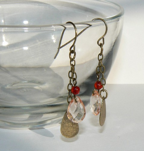 Antique Gold, and Peach Drop Earrings  #3618