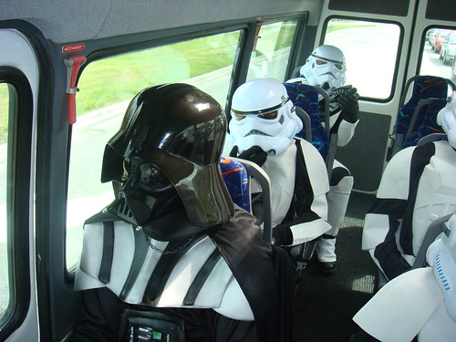 Darth vader and Stormtroopers on the bus